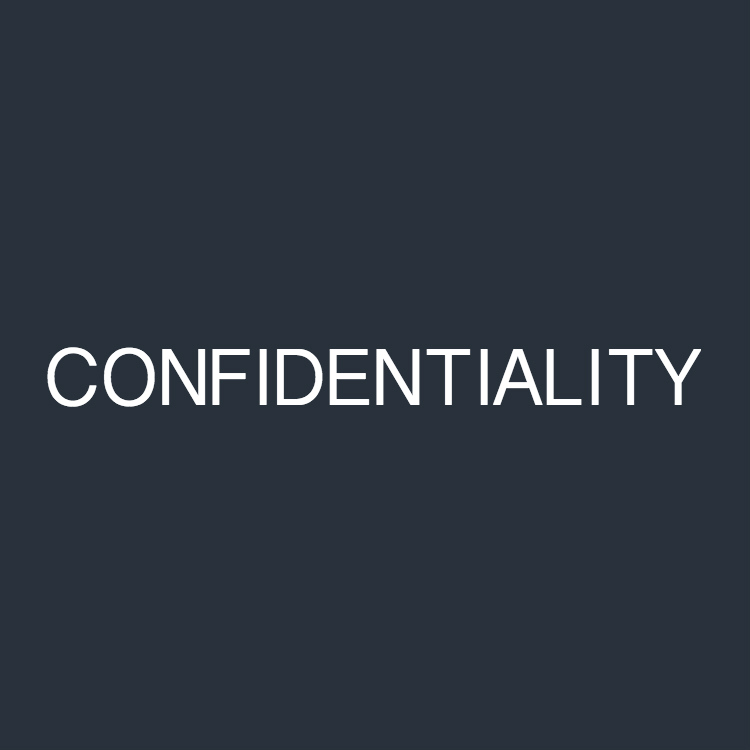 "The white font text ""CONFIDENTIALITY"" on a dark blue background"